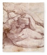 Study Of Three Male Figures Fleece Blanket