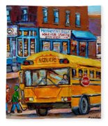 St.viateur Bagel And School Bus Montreal Urban City Scene Fleece Blanket