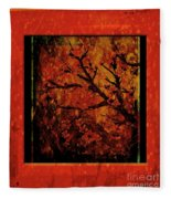 Stylized Cherry Tree With Old Textures And Border Fleece Blanket