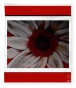 Stylized Daisy With Red Border Fleece Blanket