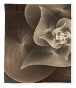 Stylized Philodendron Sepia Fleece Blanket