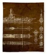Submarine Blueprint Vintage On Distressed Worn Parchment Fleece Blanket