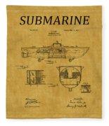 Submarine Patent 5 Fleece Blanket