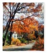 Suburban Street In Autumn Fleece Blanket