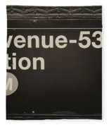 Subway Station Sign Fleece Blanket