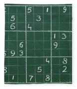 Sudoku On A Chalkboard Fleece Blanket