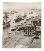 Suez Canal Port Said Fleece Blanket