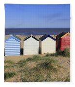 Suffolk Beach Huts Fleece Blanket