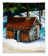 Sugar Shack Quebec Landscape Fleece Blanket