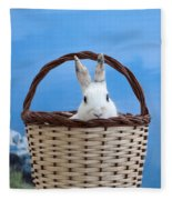 sugar the easter bunny 4 - A curious and cute white rabbit in a hand basket  Fleece Blanket