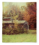 Sugarhouse In Autumn Fleece Blanket