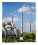 Sultan Ahmed Mosque Landmark In Istanbul Turkey Fleece Blanket