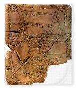 Sumerian Map, Clay Cuneiform Tablet Fleece Blanket