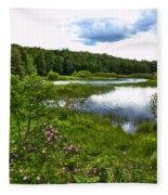 Summer At The Green Bridge Fleece Blanket