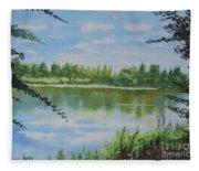 Summer By The River Fleece Blanket