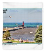 Summer Day At South Haven Mi Fleece Blanket