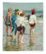 Summer Day Brighton Beach Fleece Blanket