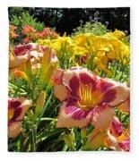 Summer Daylilies Fleece Blanket
