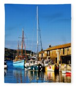 Summer Evening At The Harbour Fleece Blanket