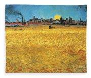 Summer Evening Wheat Field At Sunset Fleece Blanket