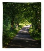 Summer Forest Road Fleece Blanket