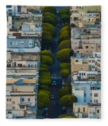 Summer Green On Lombard Street Fleece Blanket