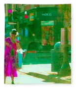 Summer Heatwave Too Hot To Walk Lady Hailing Taxi Cab At Hogg Hardware Rue Sherbrooke Carole Spandau Fleece Blanket