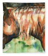 Horse Painting In Watercolor Summer Horse Fleece Blanket