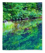 Summer Monet Reflections Fleece Blanket