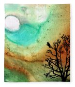 Summer Moon - Landscape Art By Sharon Cummings Fleece Blanket