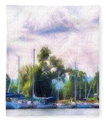 Summer Morning At Johnson's Boatyard Fleece Blanket
