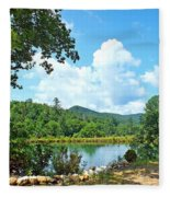 Summer Mountain Pond 2 Fleece Blanket