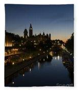 Urban Summer Night.. Fleece Blanket