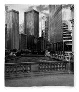Summer On The Chicago River - Black And White Fleece Blanket