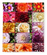 Summer Roses And Dahlias 2013 Fleece Blanket
