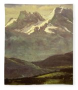 Summer Snow On The Peaks Or Snow Capped Mountains Fleece Blanket
