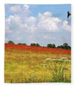 Summer Spectacular - Red Kites Over Poppy Fields Fleece Blanket