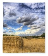 Summer Straw Bales Fleece Blanket