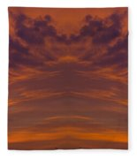 Summer Sunrise Over Jackson Michigan Mirror Image Fleece Blanket