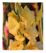 Summer Yellow Gladiolus Fleece Blanket