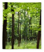 Summer's Green Forest Abstract Fleece Blanket