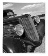 Summertime Blues In Black And White - Ford Coupe Hot Rod Fleece Blanket
