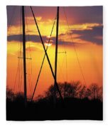 Sun And Masts Fleece Blanket