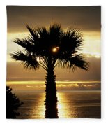 Sun And Palm And Sea Fleece Blanket