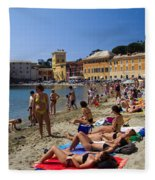 Sun Bathers In Sestri Levante In The Italian Riviera In Liguria Italy Fleece Blanket