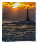 Sun Climbing Over Thacher Island Lighthouse Fleece Blanket