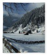 Sun On A Snowy Meadow Fleece Blanket