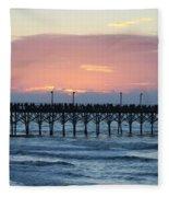 Sun Over Crowed Pier Fleece Blanket