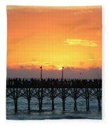 Sun In Clouds Over Pier Fleece Blanket