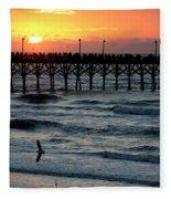 Sun Over Pier And Bird In Surf Fleece Blanket